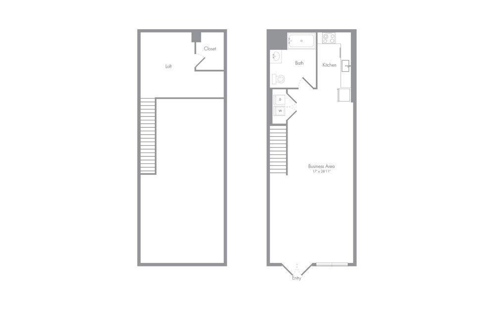 L3 loft 1 bath 948 square feet